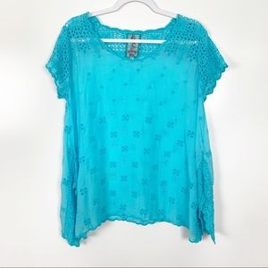 Johnny Was | Darla Blue Eyelet Embroidered Tunic S